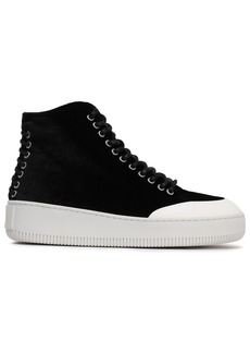 Mcq Alexander Mcqueen Woman Lace-up Velvet Sneakers Black