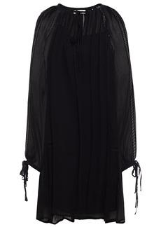 Mcq Alexander Mcqueen Woman Lattice-trimmed Gathered Crepon Mini Dress Black