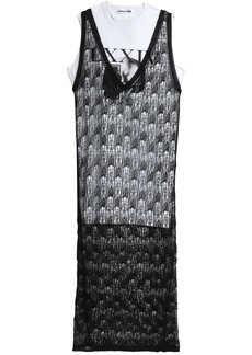Mcq Alexander Mcqueen Woman Layered Open-knit Wool And Printed Cotton-jersey Maxi Dress Black