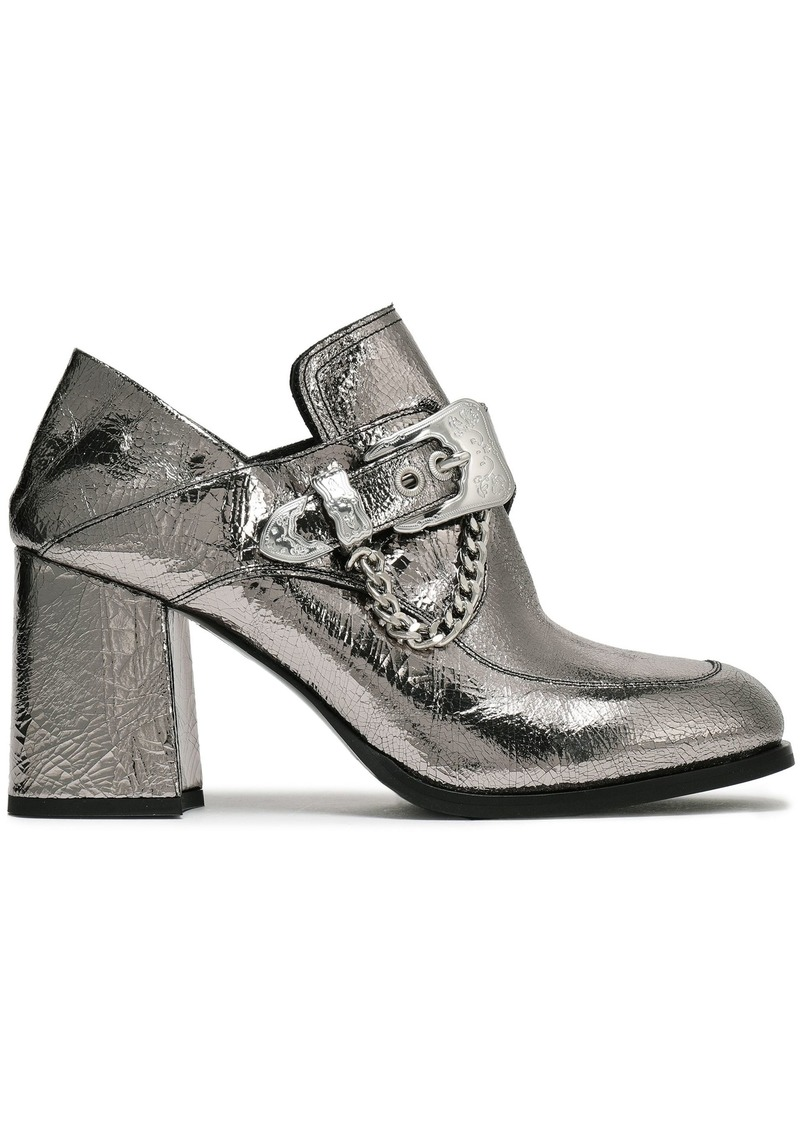 Mcq Alexander Mcqueen Woman Leah Buckled Metallic Cracked-leather Pumps Silver