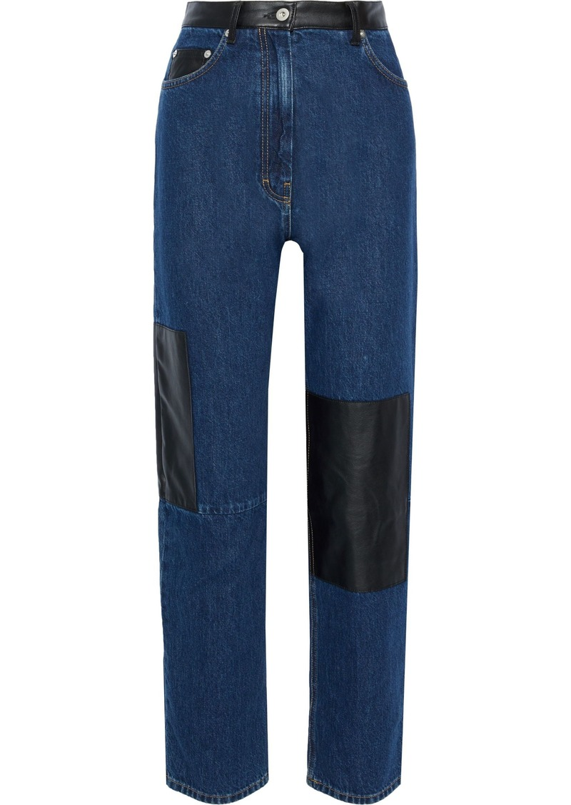 Mcq Alexander Mcqueen Woman Leather-paneled High-rise Straight-leg Jeans Mid Denim