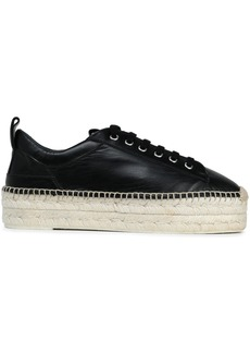 Mcq Alexander Mcqueen Woman Leather Platform Espadrille Sneakers Black