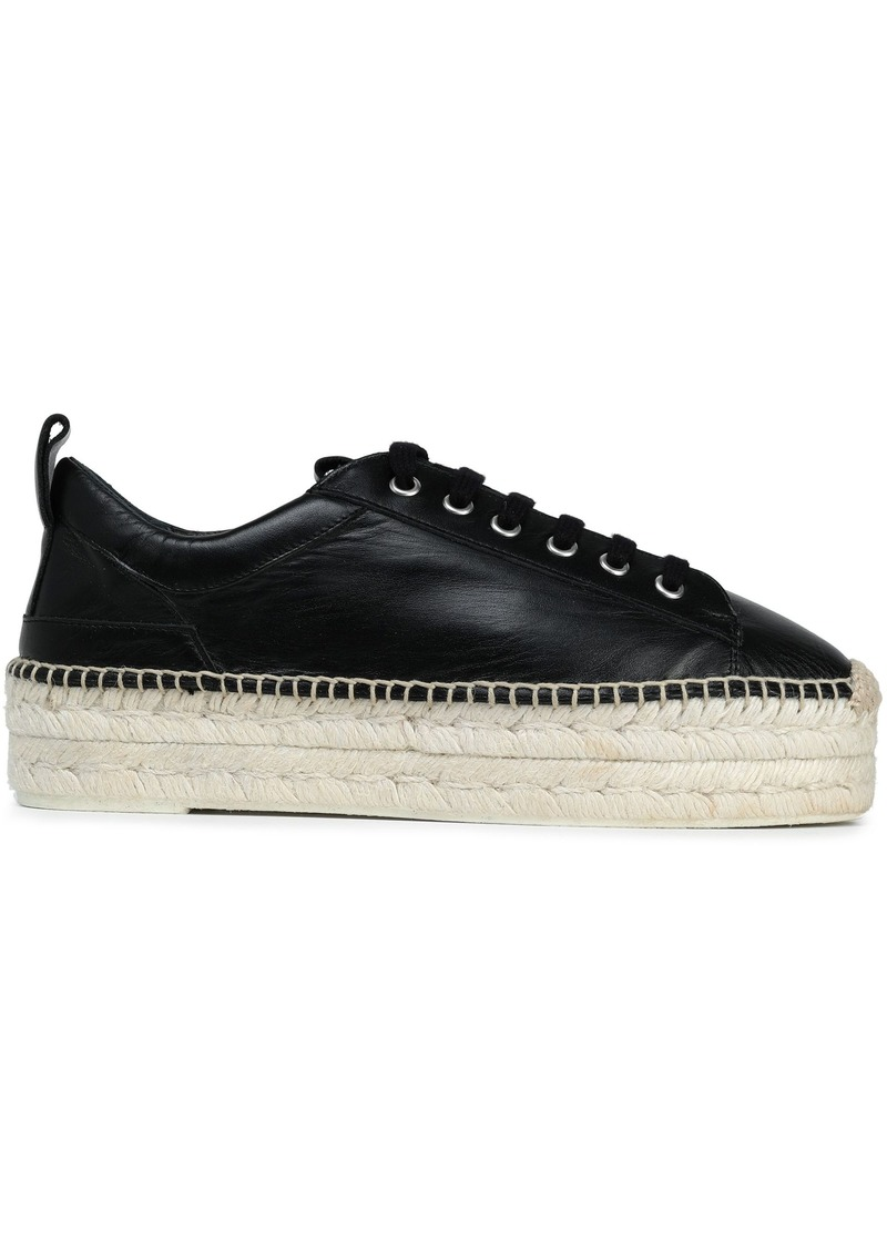 Mcq Alexander Mcqueen Woman Leather Platform Espadrille Sneakers Black