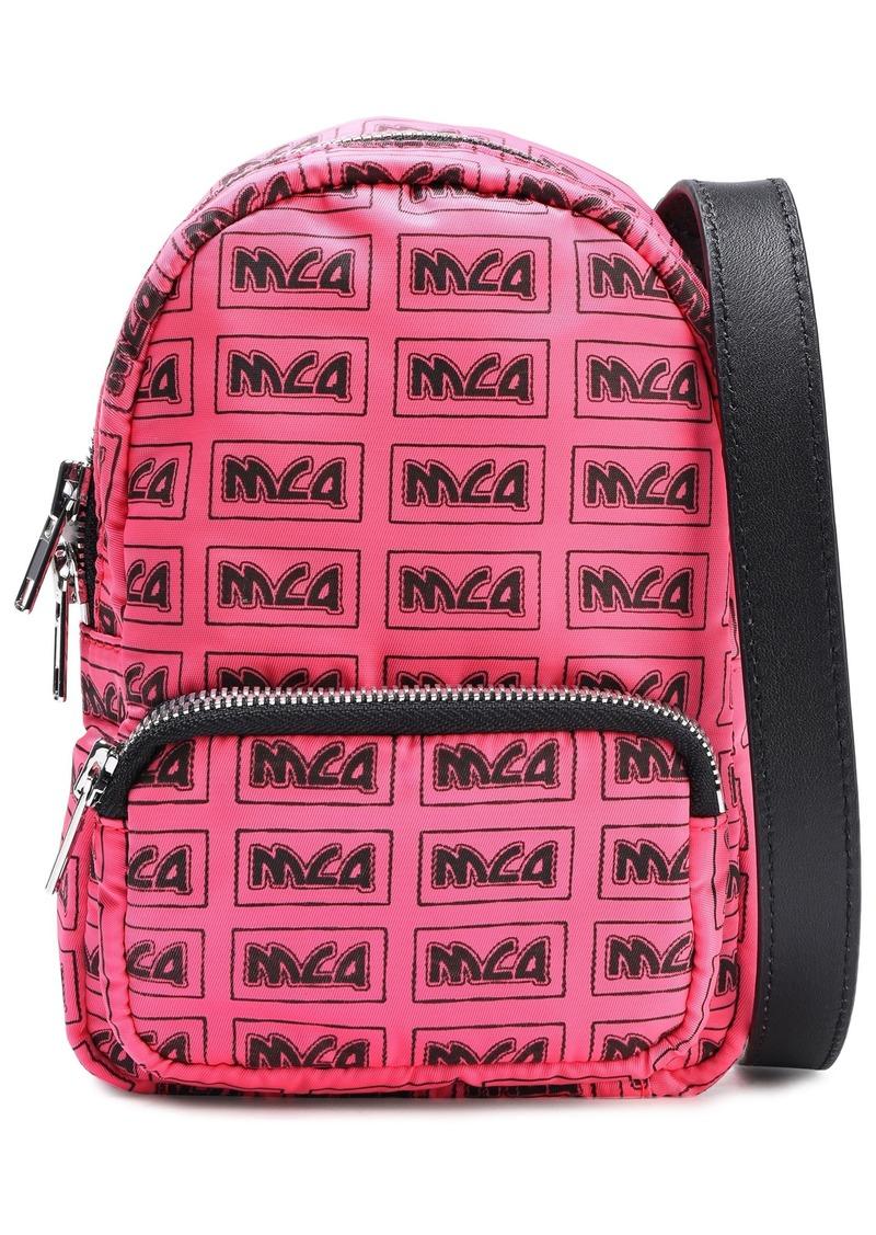 Mcq Alexander Mcqueen Woman Leather-trimmed Logo-print Shell Backpack Bubblegum