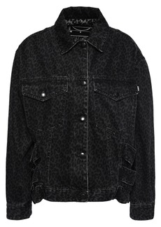 Mcq Alexander Mcqueen Woman Leopard-print Denim Jacket Black