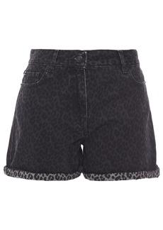 Mcq Alexander Mcqueen Woman Leopard-print Denim Shorts Dark Denim