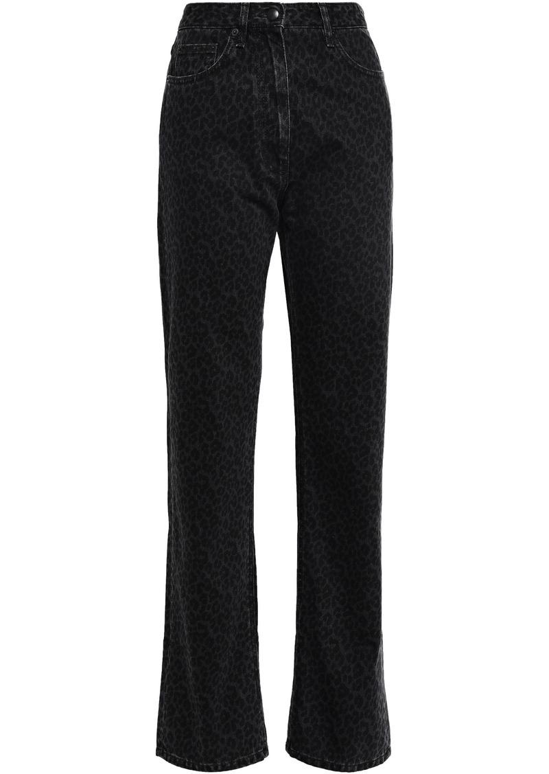 Mcq Alexander Mcqueen Woman Leopard-print High-rise Straight-leg Jeans Black