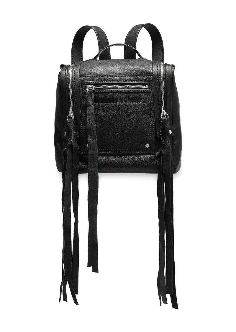 Mcq Alexander Mcqueen Woman Loveless Mini Convertible Textured-leather Backpack Black
