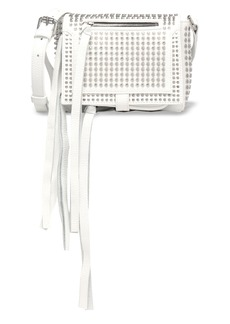 Mcq Alexander Mcqueen Woman Loveless Mini Studded Leather Shoulder Bag White