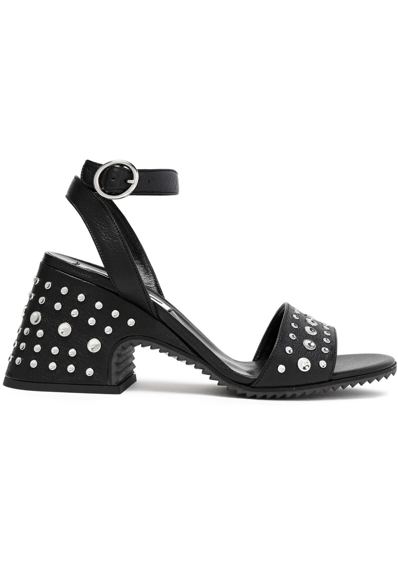 Mcq Alexander Mcqueen Woman Lydia Studded Textured-leather Sandals Black