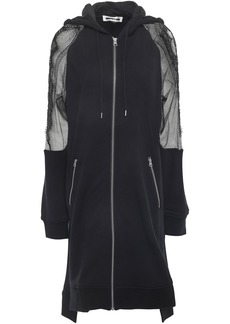 Mcq Alexander Mcqueen Woman Mesh-paneled French Cotton-terry Hooded Jacket Black