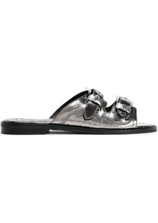 Mcq Alexander Mcqueen Woman Metallic Cracked Faux Leather Sandals Silver