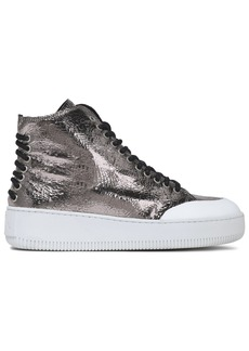Mcq Alexander Mcqueen Woman Metallic Cracked-leather High-top Sneakers Silver