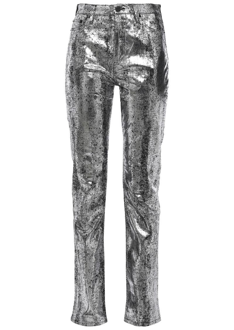 Mcq Alexander Mcqueen Woman Metallic High-rise Slim-leg Jeans Silver