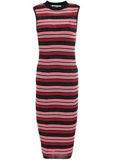 Mcq Alexander Mcqueen Woman Metallic Striped Ribbed-knit Dress Pink