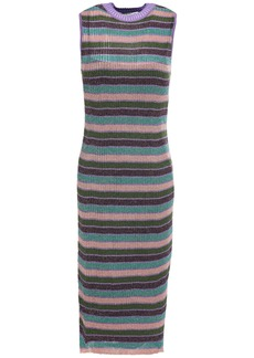 Mcq Alexander Mcqueen Woman Metallic Striped Ribbed-knit Dress Violet