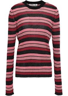 Mcq Alexander Mcqueen Woman Metallic Striped Ribbed-knit Top Pink