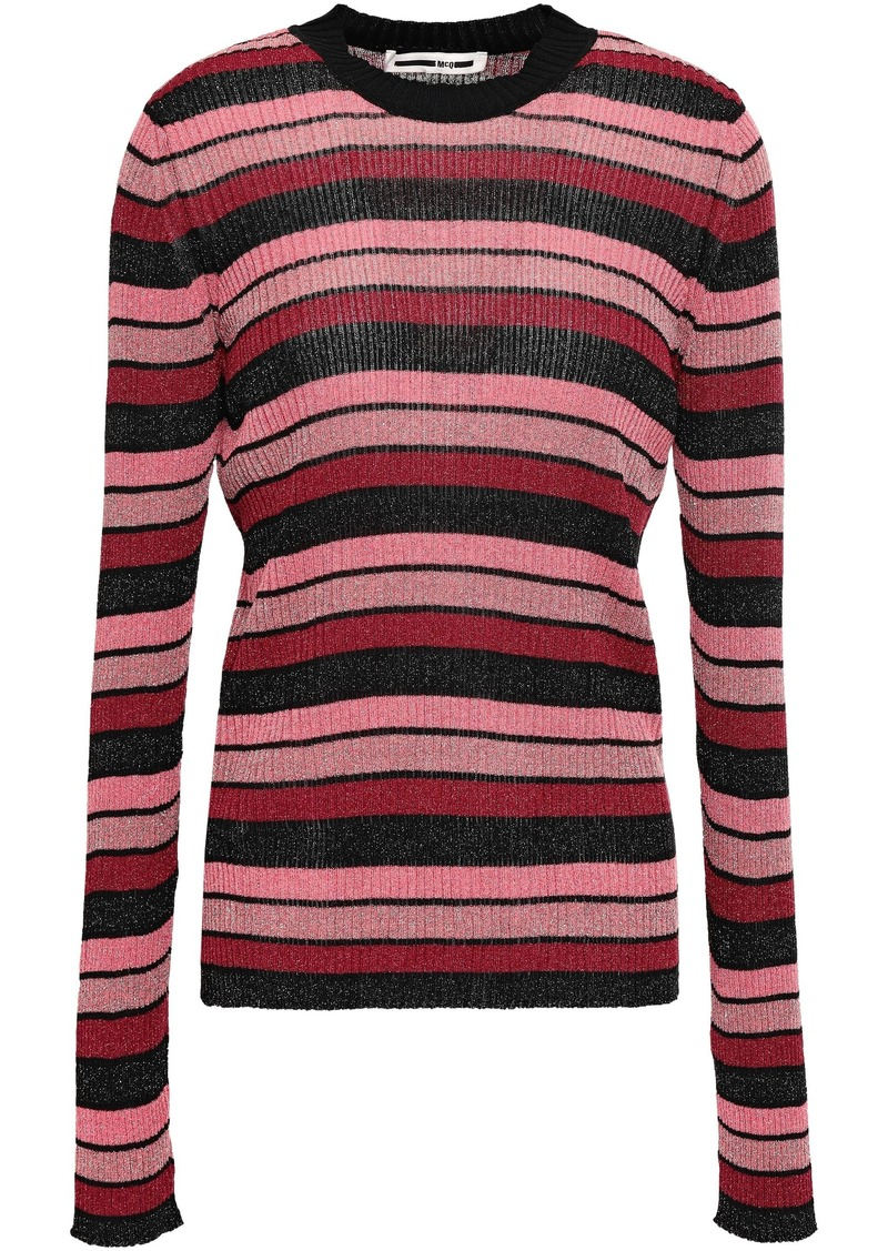 Mcq Alexander Mcqueen Woman Metallic Striped Ribbed-knit Top Pink