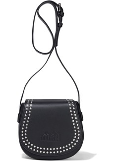 Mcq Alexander Mcqueen Woman Mini Satchel Studded Logo-embossed Leather Shoulder Bag Black