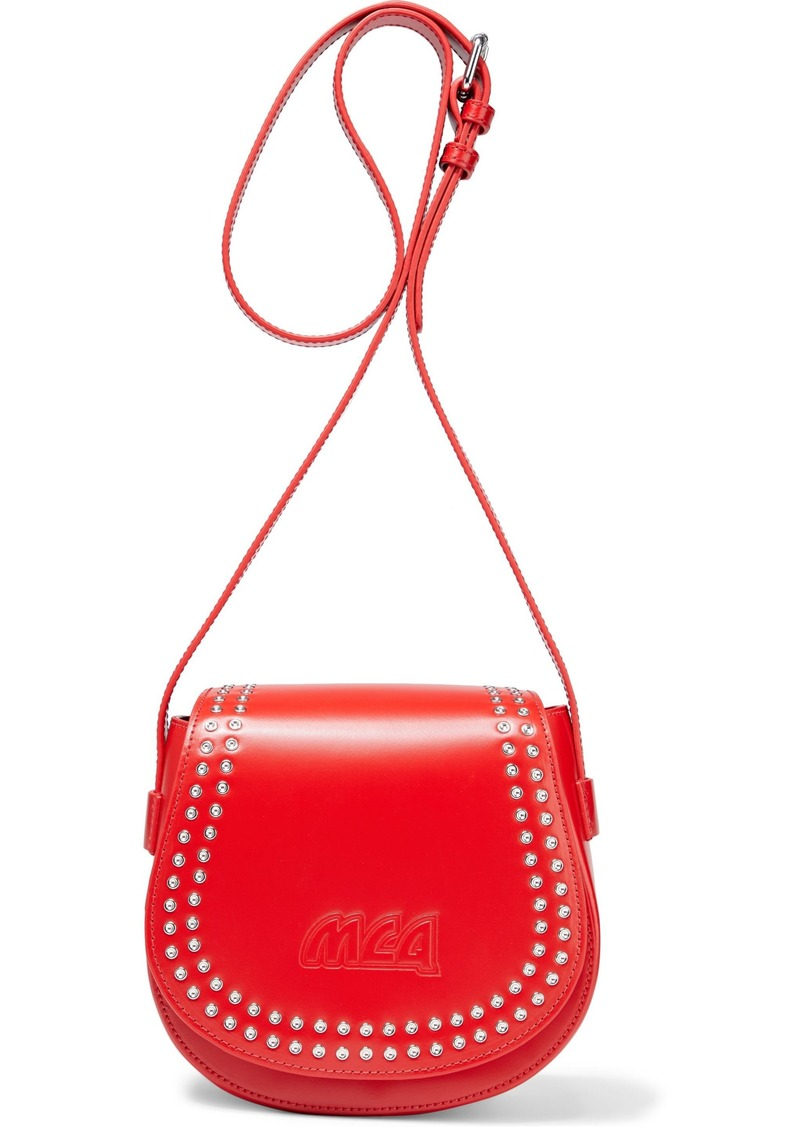 Mcq Alexander Mcqueen Woman Mini Satchel Studded Logo-embossed Leather Shoulder Bag Tomato Red