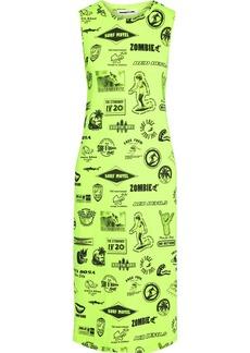 Mcq Alexander Mcqueen Woman Neon Printed Stretch-jersey Midi Dress Bright Yellow