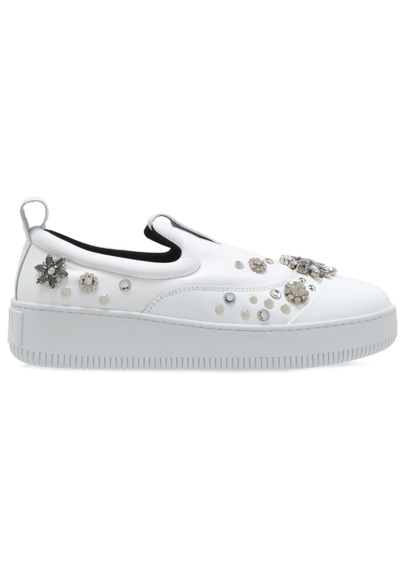 Mcq Alexander Mcqueen Woman Netil Embellished Leather Platform Slip-on Sneakers White