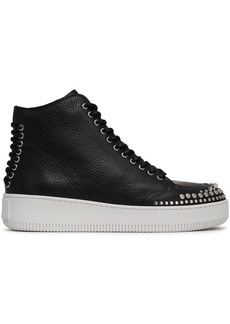 Mcq Alexander Mcqueen Woman Netil Lace-up Studded Pebbled-leather High-top Sneakers Black