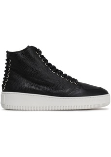 Mcq Alexander Mcqueen Woman Netil Lace-up Textured-leather High-top Sneakers Black