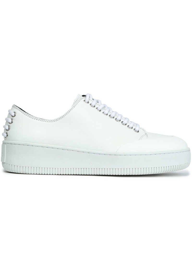 Mcq Alexander Mcqueen Woman Netil Leather Platform Sneakers White