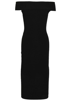 Mcq Alexander Mcqueen Woman Off-the-shoulder Stretch-ponte Midi Dress Black