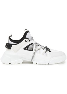 Mcq Alexander Mcqueen Woman Orbyt Leather Nubuck And Mesh Sneakers White