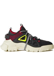 Mcq Alexander Mcqueen Woman Orbyt Leather Suede And Neoprene Sneakers Black