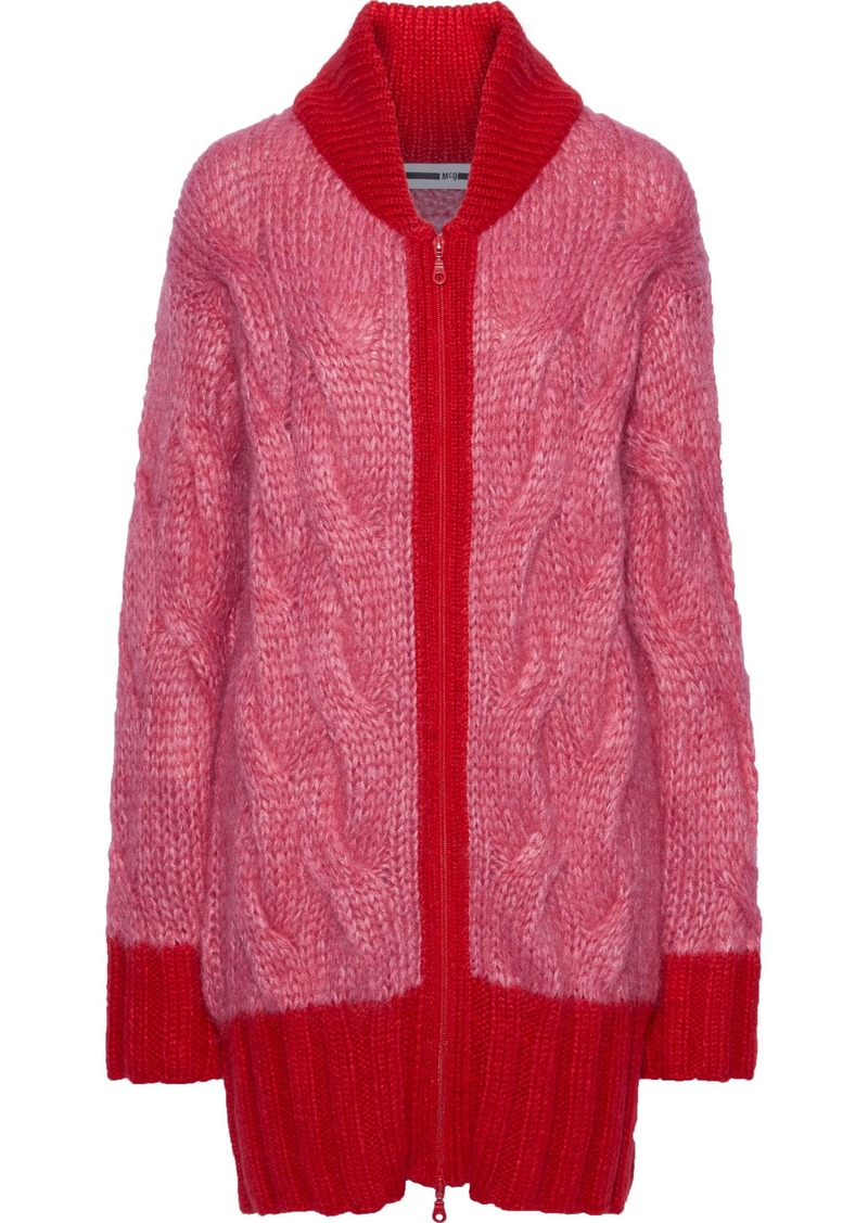 Mcq Alexander Mcqueen Woman Oversized Cable-knit Mohair Cardigan Coral