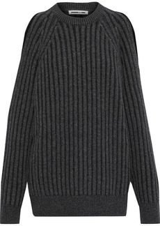Mcq Alexander Mcqueen Woman Oversized Cold-shoulder Ribbed Wool-blend Sweater Charcoal