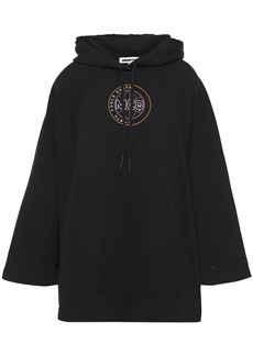 Mcq Alexander Mcqueen Woman Oversized Printed French Cotton-terry Hoodie Black