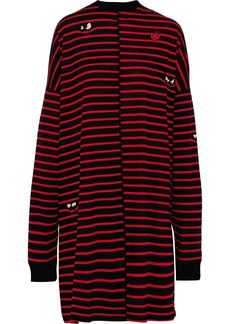 Mcq Alexander Mcqueen Woman Oversized Striped Cotton-jersey Dress Tomato Red