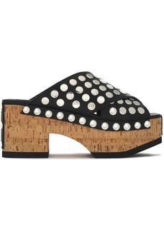 Mcq Alexander Mcqueen Woman Paloma Studded Leather Platform Sandals Black