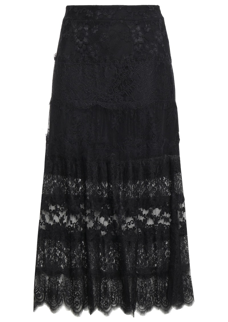 Mcq Alexander Mcqueen Woman Paneled Chantilly And Leavers Lace Midi Skirt Black