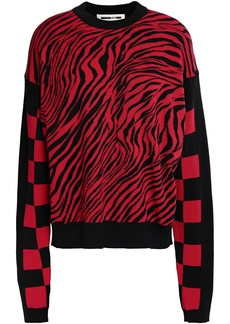 Mcq Alexander Mcqueen Woman Paneled Cotton-jacquard Sweater Tomato Red