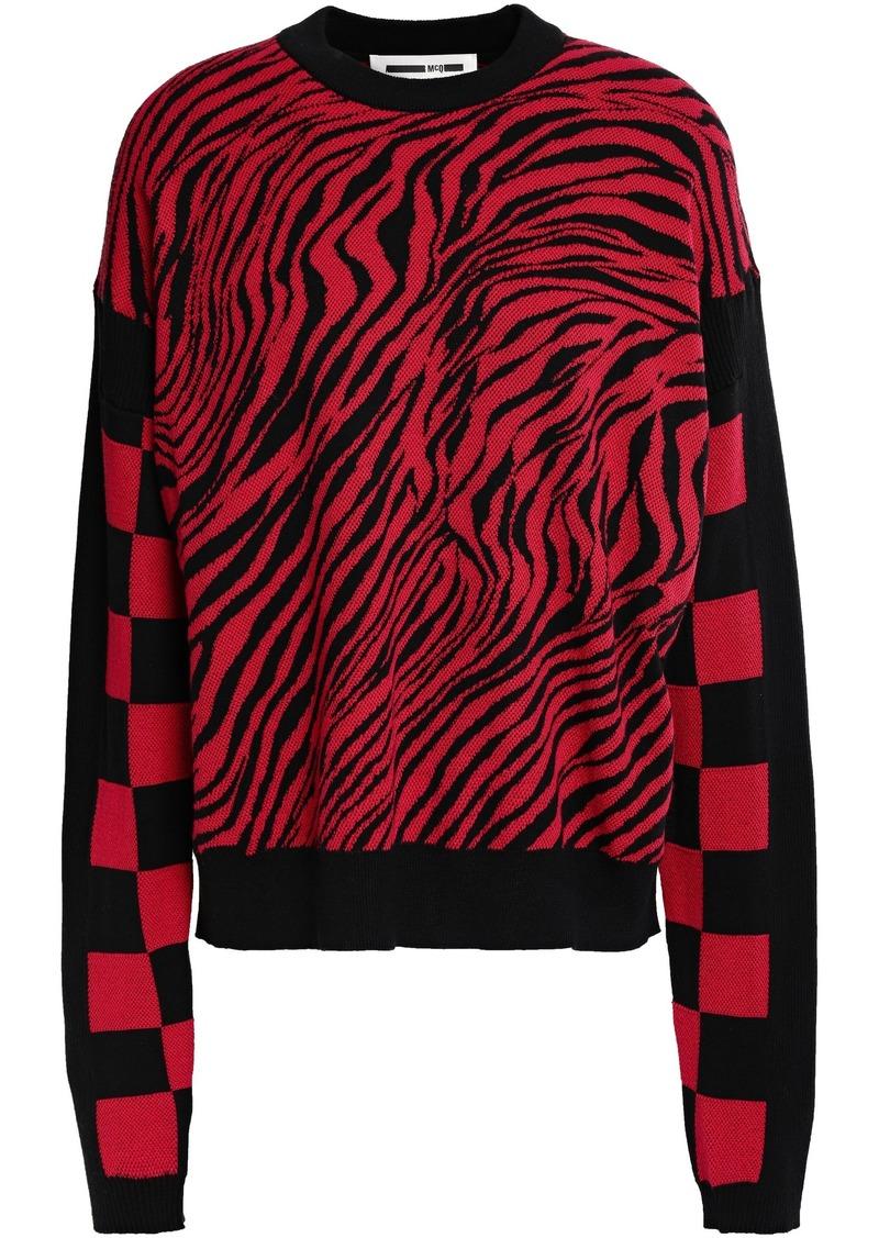 Mcq Alexander Mcqueen Woman Paneled Cotton-jacquard Sweater Tomato Red