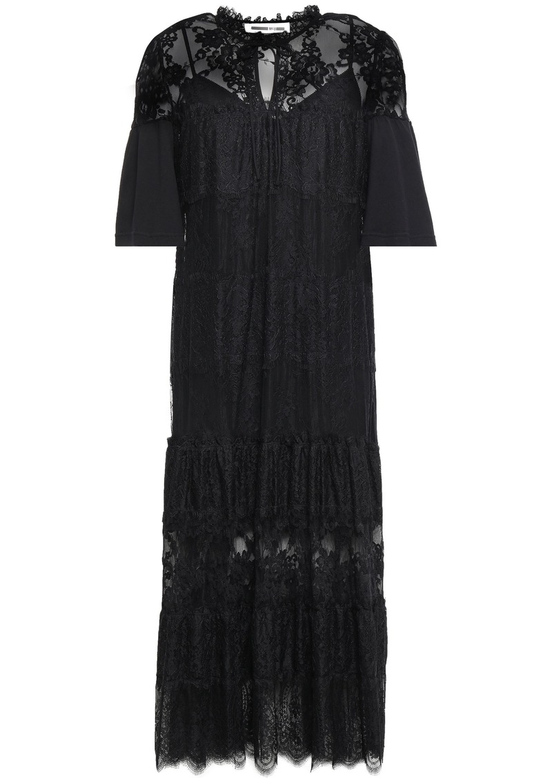 Mcq Alexander Mcqueen Woman Paneled Cotton-jersey Chantilly And Leavers Lace Midi Dress Black
