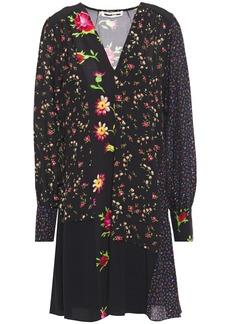 Mcq Alexander Mcqueen Woman Paneled Floral-print Crepe De Chine Dress Black