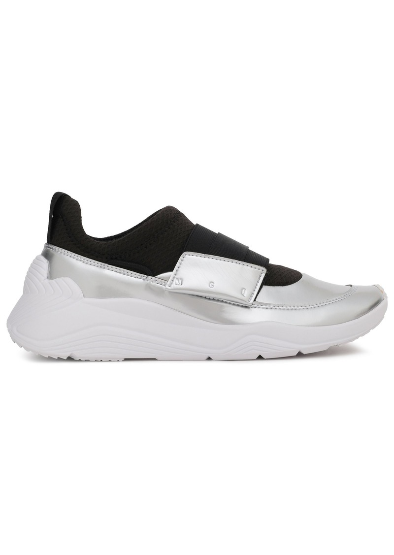 Mcq Alexander Mcqueen Woman Paneled Metallic Faux Leather And Mesh Sneakers Silver