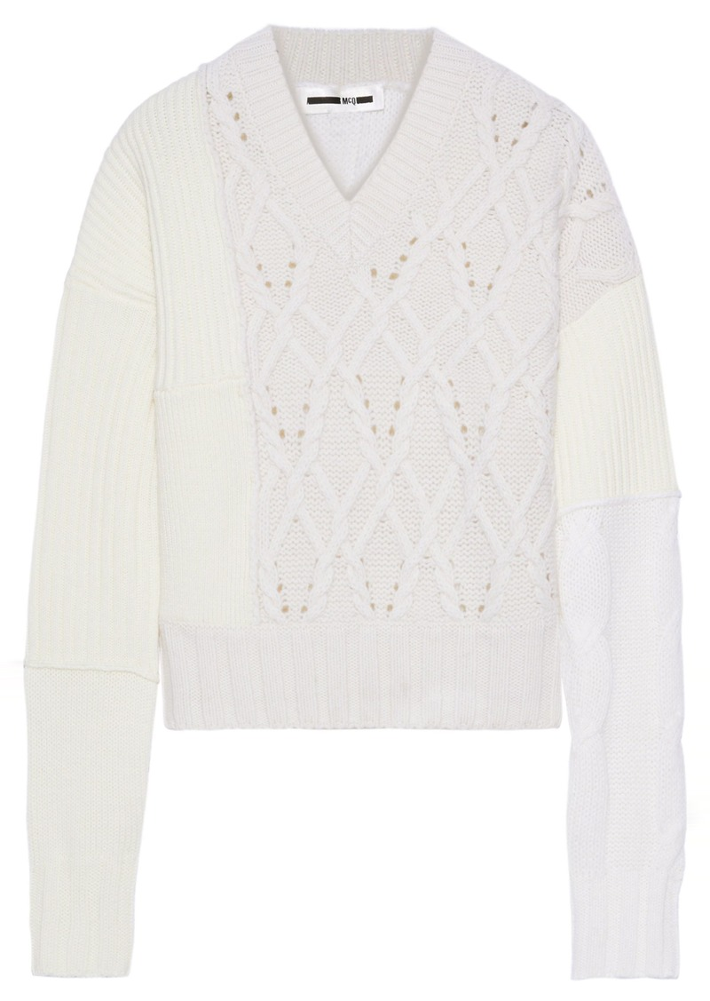 Mcq Alexander Mcqueen Woman Paneled Ribbed And Cable-knit Sweater Ivory