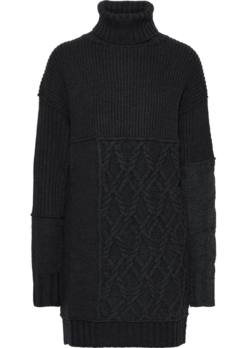 Mcq Alexander Mcqueen Woman Paneled Ribbed And Cable-knit Turtleneck Mini Dress Charcoal