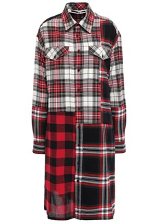 Mcq Alexander Mcqueen Woman Patchwork-effect Checked Cotton And Wool-blend Shirt Dress Red
