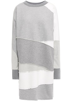 Mcq Alexander Mcqueen Woman Patchwork Mélange French Cotton-terry Mini Dress Stone