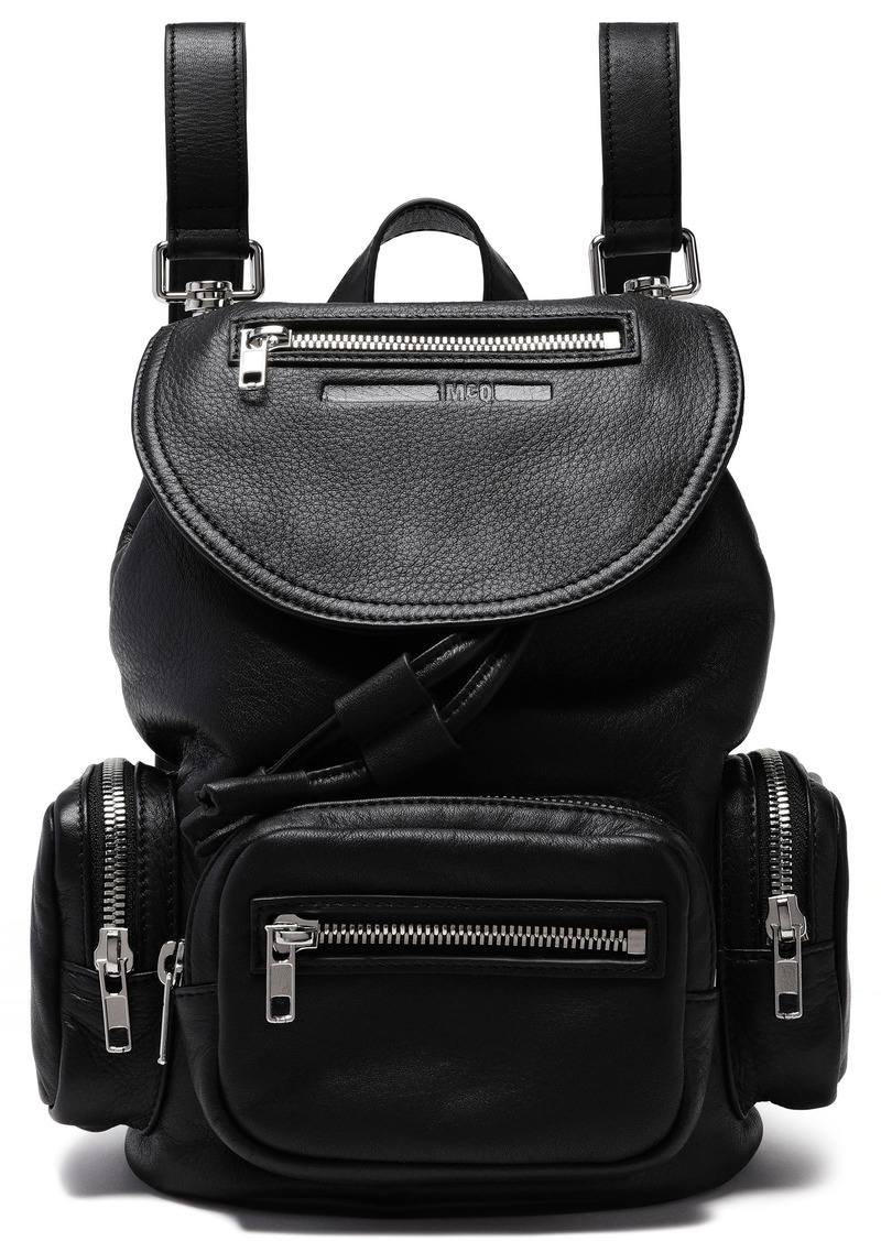 Mcq Alexander Mcqueen Woman Mini Textured Leather Backpack Black