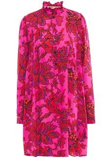 Mcq Alexander Mcqueen Woman Pintucked Floral-print Silk Crepe De Chine Mini Dress Fuchsia