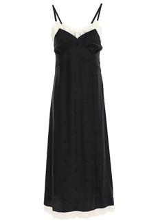 Mcq Alexander Mcqueen Woman Pintucked Lace-trimmed Silk-satin Jacquard Slip Dress Black